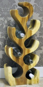 Handcarved Solid Wood Wine Rack Stand, hold 8 bottles.